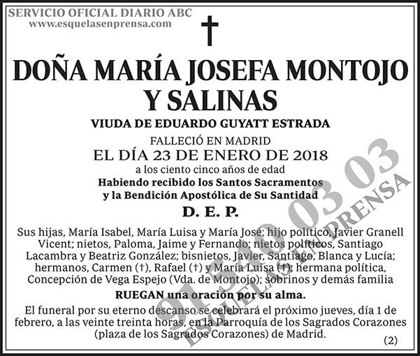 María Josefa Montojo y Salinas